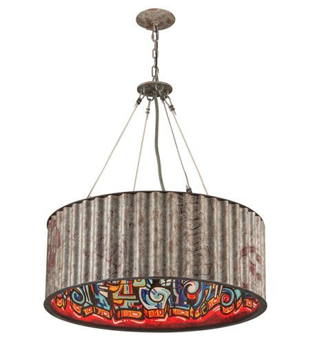 Weathered Iron Finish Pendants - Pendants 6 Light with Weathered Galvanized Street Art Finish Hand-Worked Wrought Iron Material Medium 35 inch Long 360 Watts