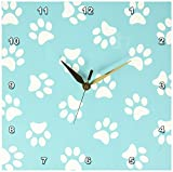 3dRose dpp_161531_1 Teal Blue and White Paw Print Pattern Turquoise Pawprints Cute Animal Eg Dog Or Cat Footprints Wall Clock, 10 by 10-Inch Review