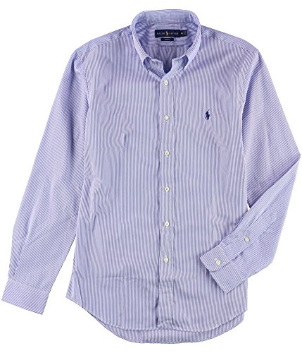 Polo Ralph Lauren Men's Slim Fit Hairline Striped Stretch Poplin Shirt, Blue White (X-Large) ()