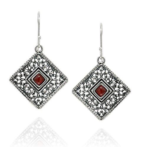 Stera Jewelry 925 Sterling Silver Carnelian Gemstone Filigree Square Shaped Dangle Earrings