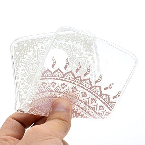 iPhone Moto Z / Z Droid Coque , Leiai Mode Transparent Fleur rose Ultra-mince Clear Silicone Doux TPU Housse Gel Etui Case Cover pour Apple iPhone Moto Z / Z Droid