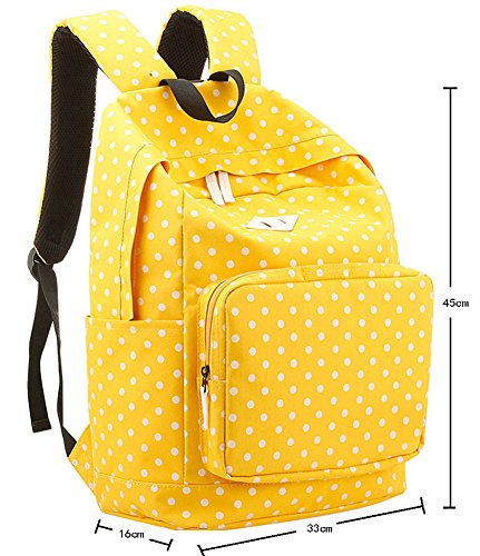 niceEshop(TM) Mochila Bolsa de la Lona de Escolar de Patrón Punto para Chica, Rojo Amarillo