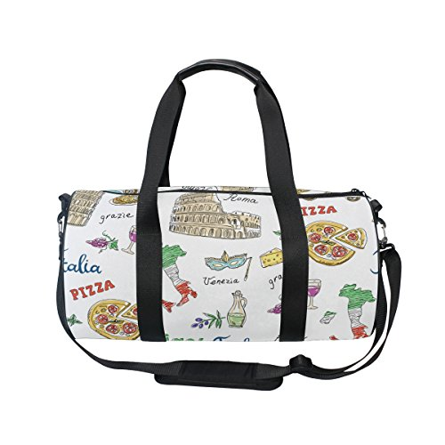 Cooper girl Travel Italy Pizza Duffels Bag Travel Sport Gym Bag by ALAZA