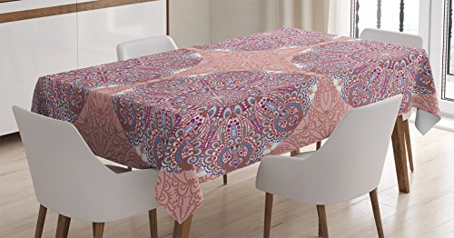 Arabian-Decor-Tablecloth-by-Ambesonne-Arabesque-Round-Patterns-in-Oriental-Islamic-Eastern-Persian-Religious-Motif-Artprint-Dining-Room-Kitchen-Rectangular-Table-Cover-Pink-Teal