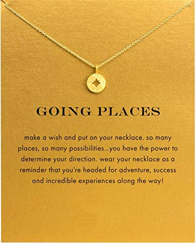 CHASIROMA Clavicle Necklace with Card Best Wish Delicate Engraved Compass Pendant Message Card Necklace
