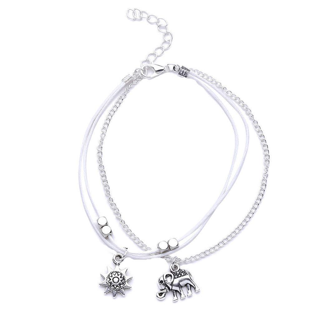 Myhouse Bohemian Alloy Elephant Sun Multi-Layer Beads Anklet Beach Foot Chain