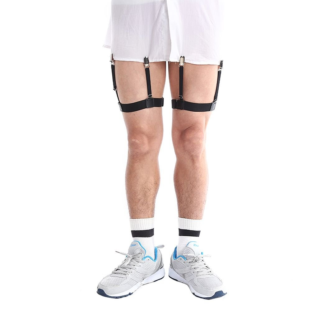 cc2bf5a9c2b Mens Business Shirt Stays Uniform Holder Leg Thigh Elastic Garter Belt  Suspender Non-slip Locking Clamps (Metal clip) at Amazon Men s Clothing  store