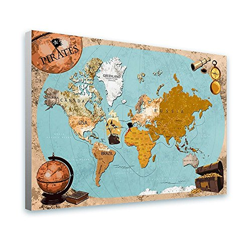 Alonline Art - Pirates Old Vintage Maps by World Map | framed stretched canvas on a ready to hang frame - 100% cotton - gallery wrapped | 40