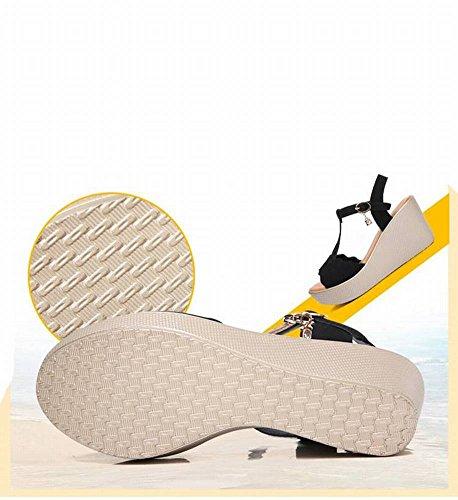 Vaca Tac de Mujer Sandalias Moda de Ocasionales Pendiente Mujer con de Sandalias Cabeza Redonda Piel Zapatos Adulto cqByfC