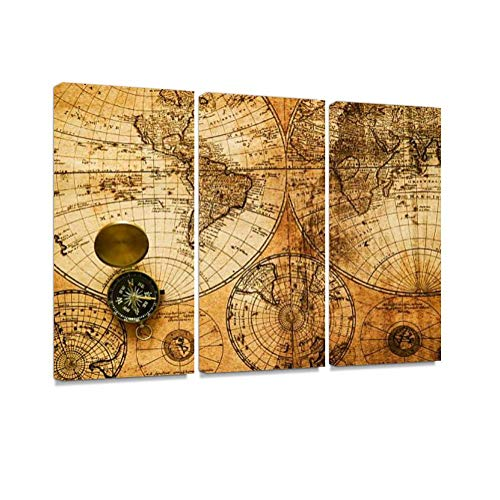 - YKing1 Vintage Detailed Navigation map with mariner's Compass Wall Art Painting Pictures Print On Canvas Stretched & Framed Artworks Modern Hanging Posters Home Decor 3PANEL