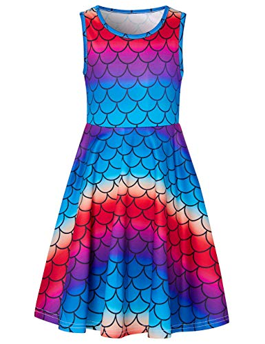 UNIFACO Little Girl Mermaid Fish Scale Costume Cosplay Princess Dress up Birthday Pageant Party Dance Outfits Evening Gowns 4-5T]()