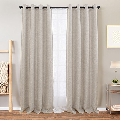 Beige Curtains Bedroom Room Darkening Linen Textured Window Curtain Panels Living Room 72 inches Long Window Treatment Set Grommet Top 2 Panels