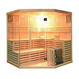 Cheap ALEKO SEA5JIU Canadian Hemlock Indoor Wet Dry Mini Sauna and Steam Room 6 kW ETL Certified Heater 5 to 6 Person 75 x 75 x 75 Inches
