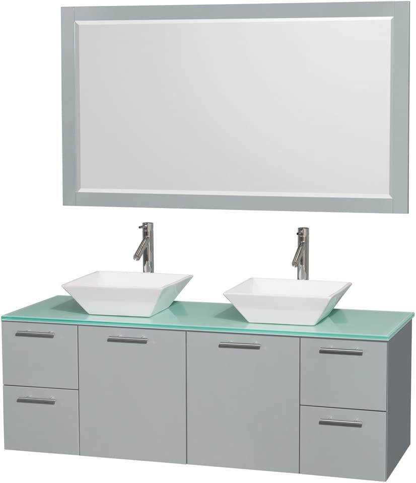 Wyndham Collection Amare 60 inch Double Bathroom Vanity in Dove Gray, Green Glass Countertop, Pyra White Porcelain Sinks, and 58 inch Mirror