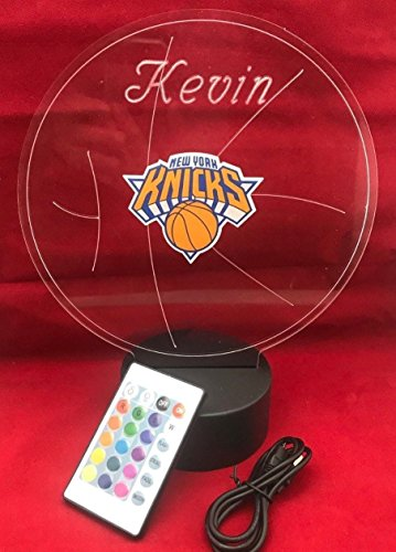 (NY Knicks Beautiful Handmade Acrylic Personalized Knicks Basketball Light Up Lamp LED Table Lamp, Our Newest Feature - It's Wow, Comes with Remote,16 Color Option, Dimmer, Free Engraved, Great Gift )