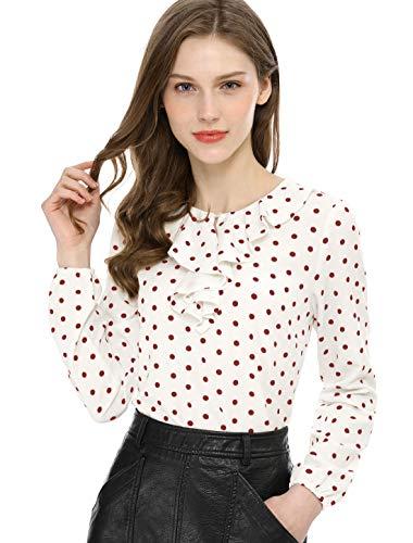 Allegra K Women's Ruffle Neck Long Sleeve Vintage Polka Dots Tunics Blouse Shirt M White Red