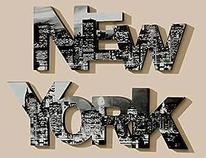 Juego de 2 letras Colgantes de Pared Cuadro 90 cm Letras Foto Manhattan New York