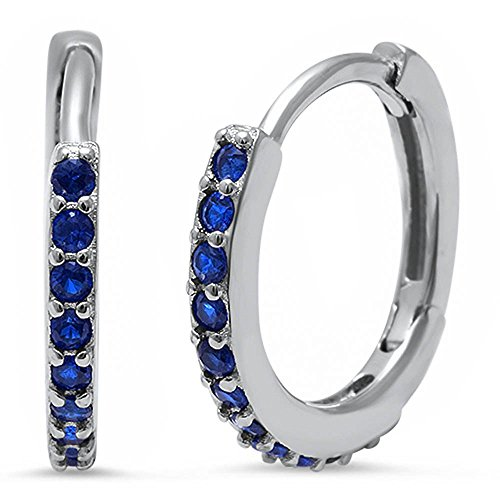 - Eternity Huggie Hoop Earrings Round Simulated Blue Sapphire 925 Sterling Silver Huggies