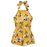 MakeMeChic Women's Self Tie Halter Romper Floral Print Sleeveless Jumpsuit Yellow S