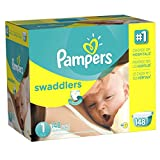 Pampers Swaddlers, Unisex, Talla 1, 148 Pañales