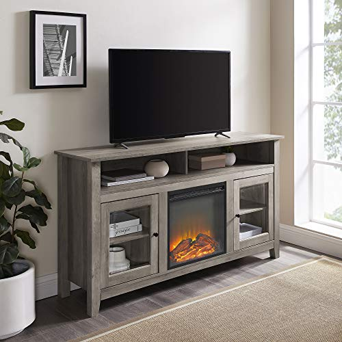 "Walker Edison Furniture Company Rustic Wood and Glass Tall Fireplace Stand 64"" Flat Screen Universal TV Console Living Room Storage Shelves Entertainment Center, 32 Inches, Gray Wash"