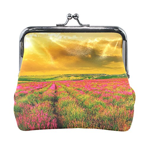 Ethel Ernest Lavender Flower Colorful Golden Glow Sunset Field Coin Wallets Mini Purse for Womens Girls