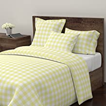 Yellow Gingham Duvet Cover Gingham Check Buffalo Check Gingham Watercolor Picnic Sugar Fresh by Sugarfresh 100% Cotton Queen Duvet Cover