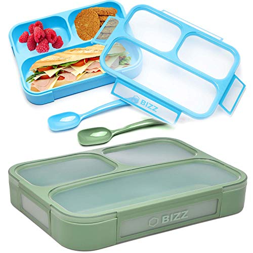 Bizz Bento Lunch Boxes with Spoon (2-Pack) 3-Compartment Leakproof Food Storage Container, Work, Home, School, Meal Prep, Portion Control, Dry or Liquid, Men, Women, Kids
