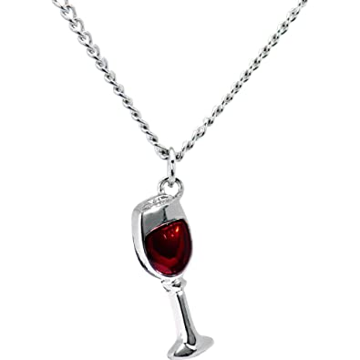 Amazon body candy stainless steel chain red wine glass pendant body candy stainless steel chain red wine glass pendant necklace 18quot mozeypictures Images