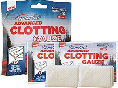 "QuikClot Advanced Clotting Gauze with Kaolin, Two 3"" x 24"" Gauze Strips – First Aid Hemostatic Gauze from Adventure Medical Kits, Quik Clot Combat Gauze, Blood Clotting Dressing, Stop Bleeding Fast from QuikClot"
