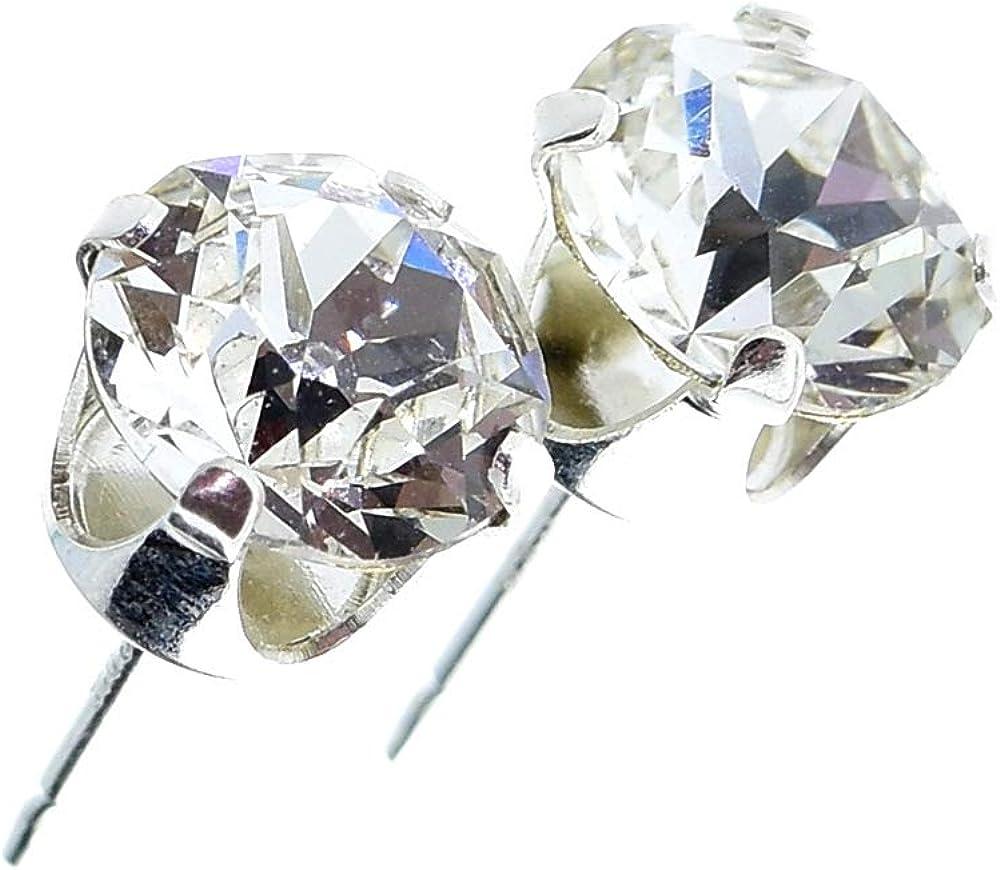 pewterhooter. Pendientes de plata de ley 925 hechos con cristal diamante blanco brillante de SWAROVSKI® para mujer.