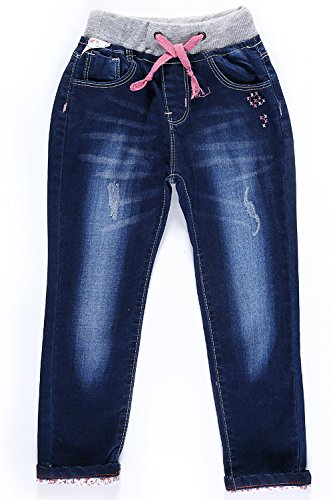 LITTLE-GUEST Little Girls' Jeans Kids Clothes Drawstring Waistband Denim Pants G116 (3 Years, Navy Blue)