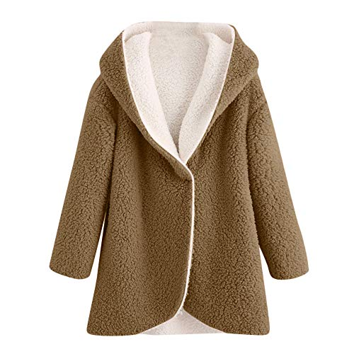 kaifongfu Women Casual Curved Hem Winter Warm Faux Fur Jacket Cardigan ()