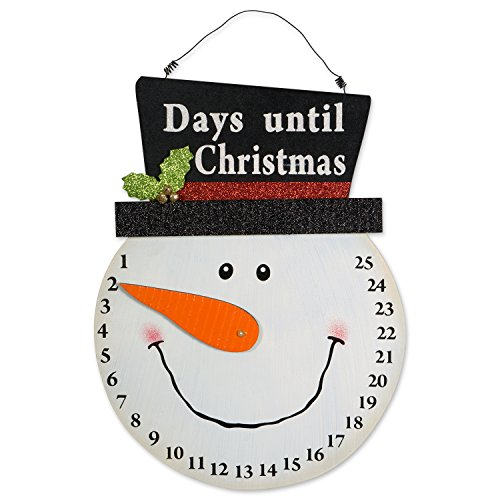 DII Indoor/Outdoor Hanging Snowman Advent Calendar for the Holidays, Wooden Wall & Door Decoration - Days Until Christmas Countdown