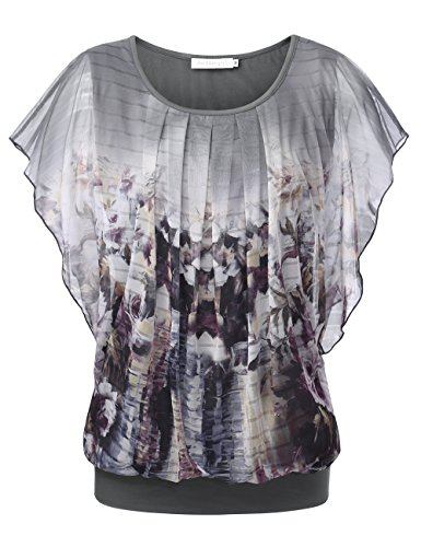 - BaiShengGT Flutter Sleeve Tops for Women, Women's Printed Flouncing Flared Short Sleeve Mesh Blouse Top XX-Large Light Grey