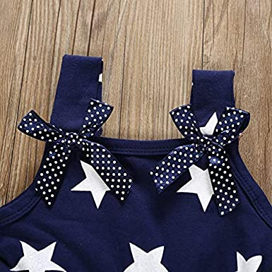 Toddler Kids Baby Girls 4th of July Outfit Straps Bowknot Stars Striped Dress Independence Day Clothes Sundress