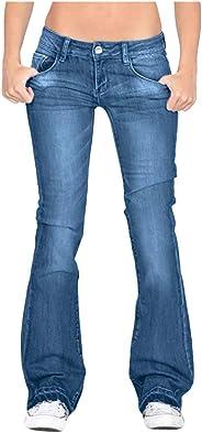 Jeans Pants for Women Washed Denim Trousers Plus Size Slim Fit Mid Waist Flare Jeans Wide Leg Pants