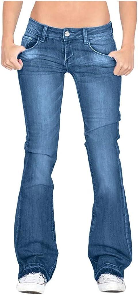 Centory Women's Juniors InstaStretch Luscious Curvy Bootcut Jeans Vintage Versatile Washed Stretch Denim Slim Boot Cut Jeans