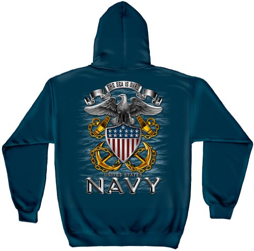US Navy Hooded Sweatshirt, 100% Cotton Casual Men's Shirts, Show Your Navy Pride with Our The Sea Is Ours Full Print Eagle Long Sleeve Sweatshirts for Men or Women (Large) (Us Navy Mom Sweatshirt)