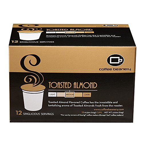 Coffee Beanery Toasted Almond Singlicious Servings Single-cup Coffee Pack Sampler for Keurig K-cup Brewers -