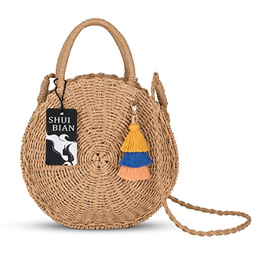 SHUIBIAN Women Handmade Rattan Beach Bag Shoulder Bag with Tassel Key Chain(Khaki)