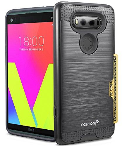 LG V20 Card Slot Case, Fosmon HYBO-SLOT Slim Hybrid Hard Cover [Shock Proof | Card Holder] Wallet Case for LG V20 (Black) - Fosmon Carrying Case