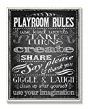 The Kids Room by Stupell Black And White Playroom Rules Use Kind Words Rectangle Wall Plaque, 11 x 0.5 x 15, Proudly Made in USA