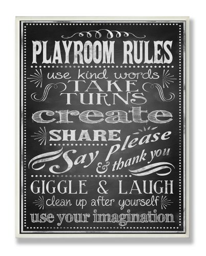 The Kids Room by Stupell Black And White Playroom Rules Use Kind Words Rectangle Wall Plaque, 11 x 0.5 x 15, Proudly Made in USA by The Kids Room by Stupell