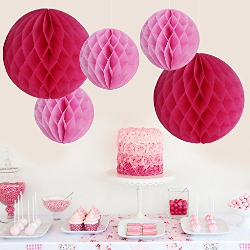 15CM Honeycomb Balls Tissue Paper Ball Honeycomb Decorations DIY Tissue Paper Balls for Party Decoration Wedding Bridal Shower Garden Decoration,Pack of 6(Pink (Paper Honeycomb Ball)