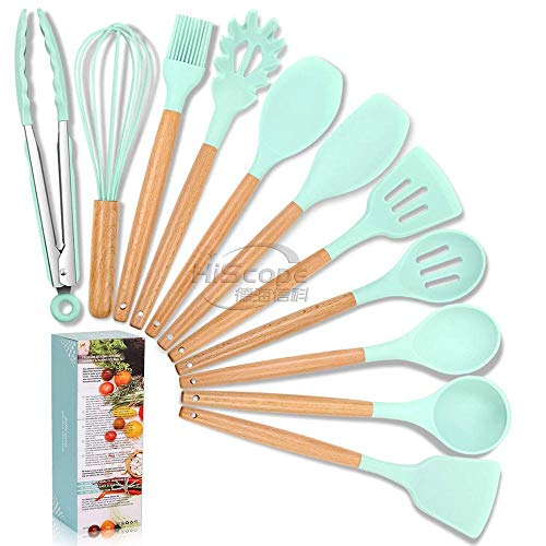 Cook Essentials- 11pc Silicone Cooking Kitchen Utensils Set Bamboo Wooden Handles Cooking Tool BPA Free Non Toxic Silicone Turner Tongs Spatula Spoon Kitchen Gadgets Nonstick Cookware Utensils (Green)