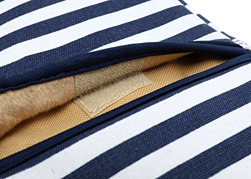 Kayond Canvas Fabric Ultraportable Neoprene Laptop Carrying Case/Shoulder Messenger Bag/Daily Briefcase Work/School/Travel(15-15.6, Breton Stripe) by kayond (Image #6)