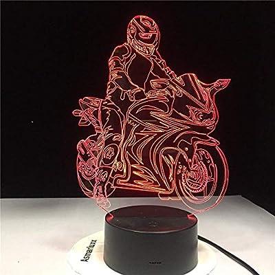 3D Lámpara de Escritorio Mesa Motorista 7 cambiar el color botón ...