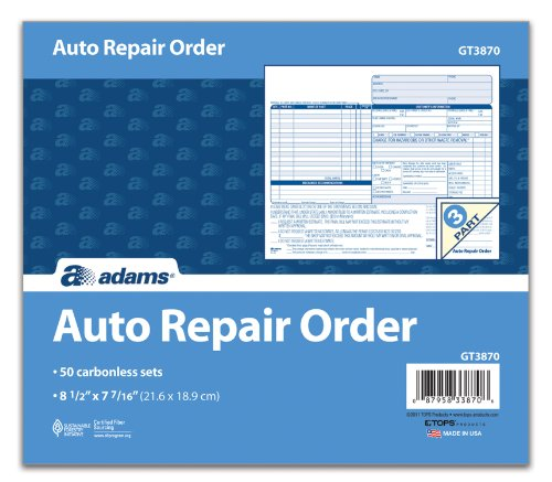 51LqKrgMOlL Adams Auto Repair Order Forms, 8.5 x 7.44 Inch, 3-Part, Carbonless, 50-Pack, White and Canary (GT3870)