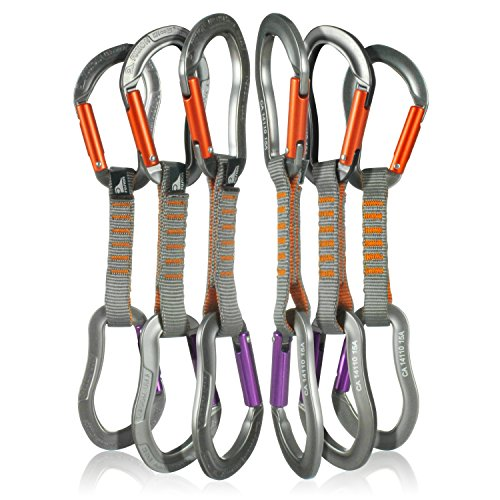 Fusion Climb 6-Pack 11cm Quickdraw Set with Techno Zoom Purple Straight Gate Carabiner/Techno Zoom Orange Straight Gate Carabiner by Fusion Climb
